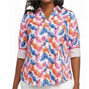 Foxcroft Tops - Foxcroft Mary Layered Palm Wrinkle Free Shirt